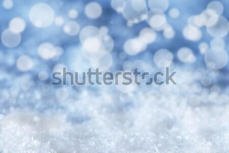 Foto stock: Azul · Navidad · bokeh · nieve · textura · tarjeta