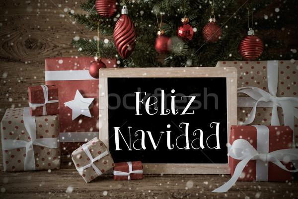 Nosztalgikus fa hópelyhek vidám karácsony karácsonyi üdvözlet Stock fotó © Nelosa