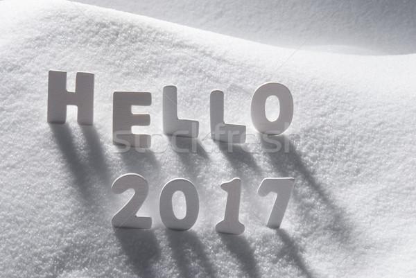 Texto Hola blanco cartas nieve edificio Foto stock © Nelosa
