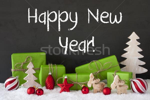 Noel dekorasyon çimento kar metin happy new year Stok fotoğraf © Nelosa