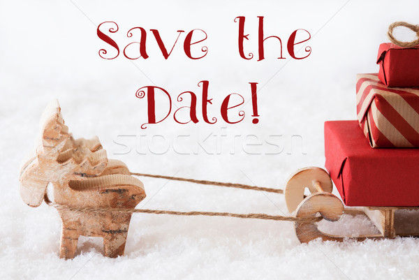 Reindeer With Sled On Snow, English Text Save The Date Stock photo © Nelosa