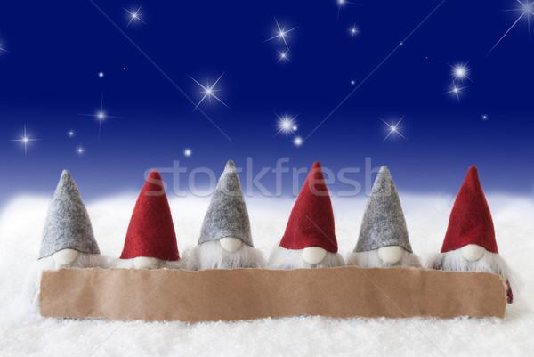 Azul estrellas espacio de la copia etiqueta anuncio Navidad Foto stock © Nelosa