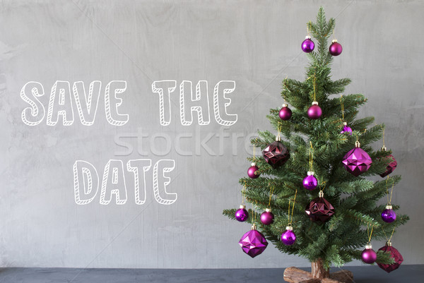Christmas Tree, Cement Wall, English Text Save The Date Stock photo © Nelosa