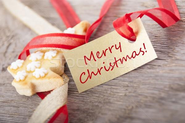 Stockfoto: Gouden · label · Rood · vrolijk · christmas · geschreven