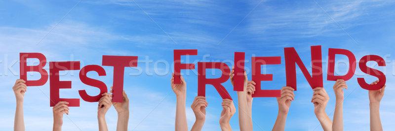 Eller en İyi arkadaşlar gökyüzü çok kırmızı Stok fotoğraf © Nelosa