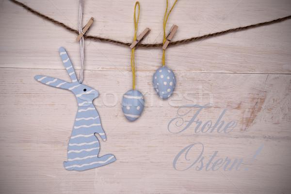 синий Пасхальный заяц пасхальных яиц подвесной линия Христос воскрес Сток-фото © Nelosa