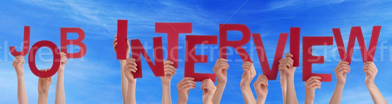 Pessoas mãos vermelho palavra entrevista de emprego Foto stock © Nelosa