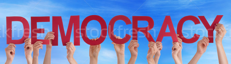 People Hands Hold Straight Word Democracy Blue Sky Stock photo © Nelosa