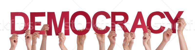 Personas manos rojo recto palabra Foto stock © Nelosa