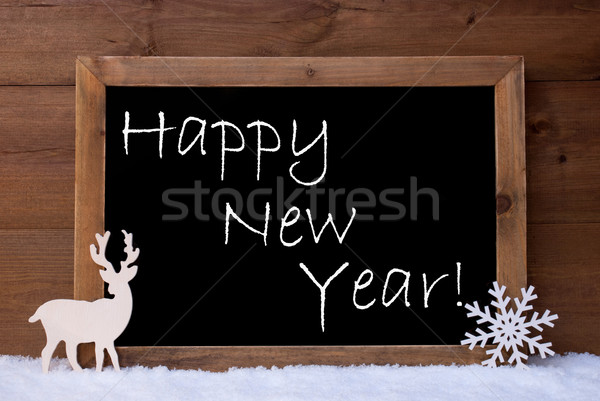 Christmas Card, Blackboard, Snow, Reindeer, Happy New Year Stock photo © Nelosa