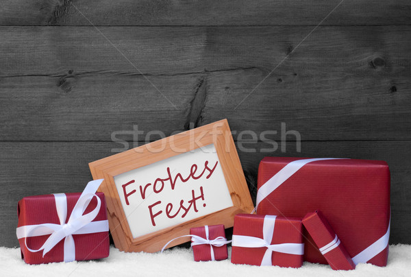 Red, Gray Decoration, Gifts, Snow, Frohes Fest, Merry Christmas Stock photo © Nelosa