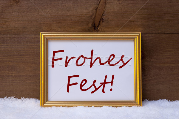Frame With Red Frohes Fest Mean Merry Christmas On Snow Stock photo © Nelosa