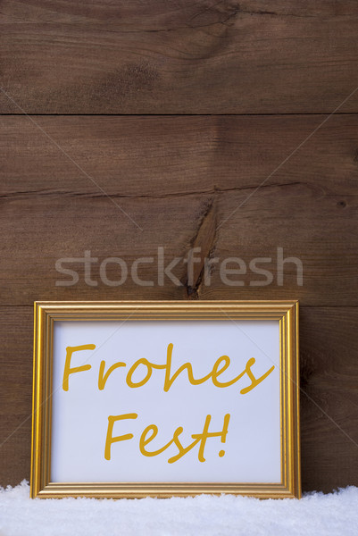 Frame With Text Frohes Fest Mean Merry Christmas On Snow Stock photo © Nelosa