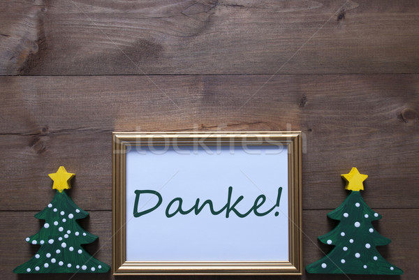 Frame With Christmas Tree And Danke Means Thank You Stock photo © Nelosa