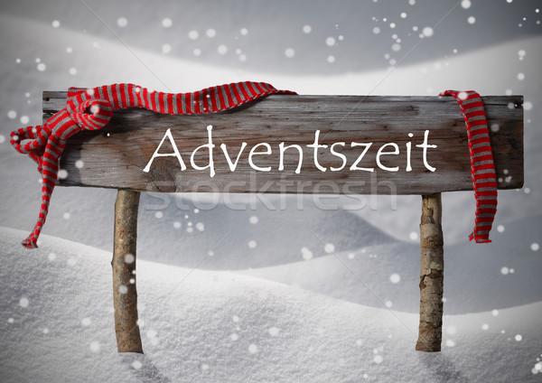 Sign Adventszeit Mean Crhistmas Time Snow, Ribbon, Snowflakes Stock photo © Nelosa