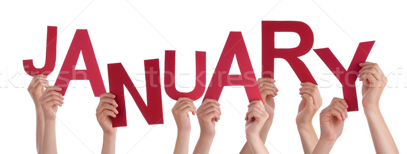 Many People Hands Holding Red Word January Stock photo © Nelosa