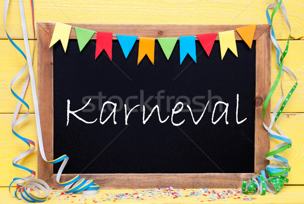 Chalkboard With Party Decoration, Text Karneval Means Carnival Stock photo © Nelosa