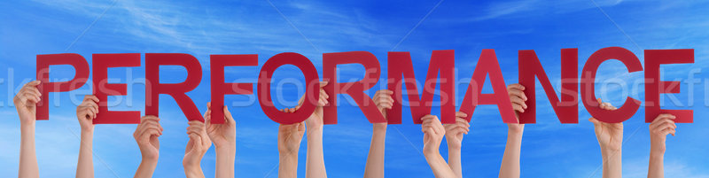 Many People Hands Holding Red Straight Word Performance Blue Sky Stock photo © Nelosa