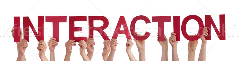 Many People Hands Holding Red Straight Word Interaction Stock photo © Nelosa