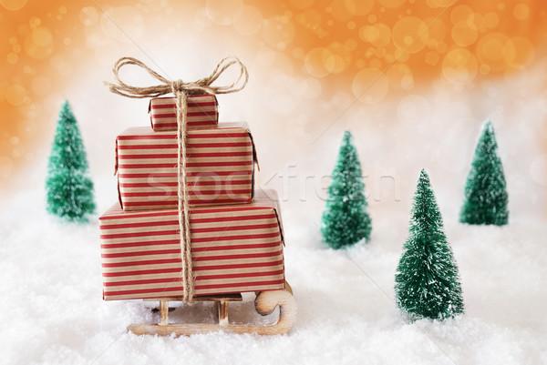 Рождества сани оранжевый снега подарки представляет Сток-фото © Nelosa