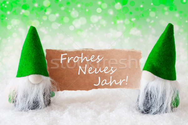 Green Natural Gnomes With Card, Neues Jahr Means New Year Stock photo © Nelosa