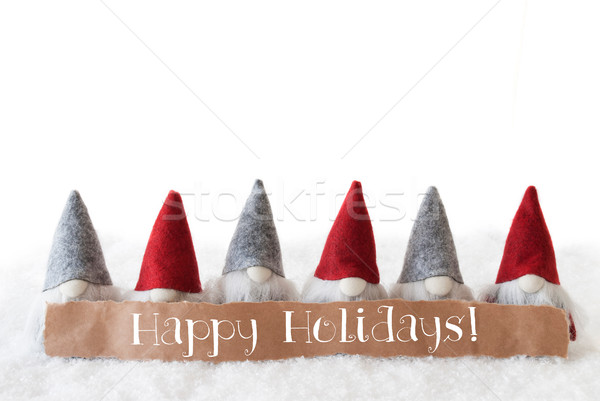 Gnomes, White Background, Text Happy Holidays Stock photo © Nelosa