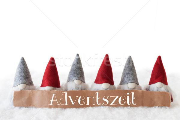 Gnomes, White Background, Adventszeit Means Advent Season Stock photo © Nelosa