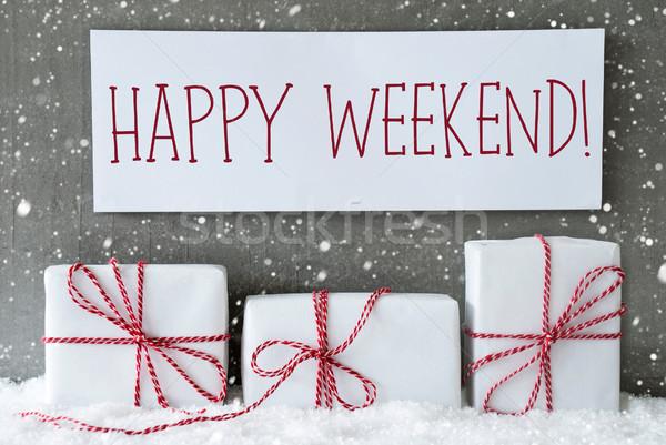 Stockfoto: Witte · geschenk · sneeuwvlokken · tekst · gelukkig · weekend