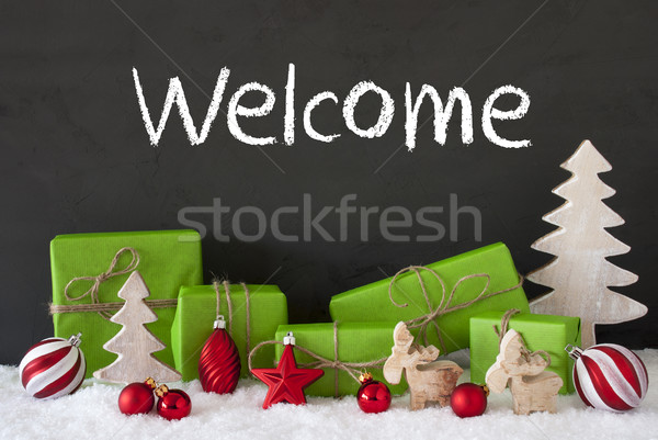 Stock photo: Christmas Decoration, Cement, Snow, Text Welcome