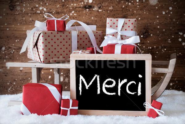 Stockfoto: Slee · geschenken · sneeuw · sneeuwvlokken · dank · u · schoolbord