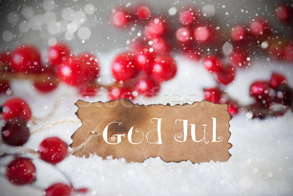 Burnt Label, Snow, Snowflakes, God Jul Means Merry Christmas Stock photo © Nelosa