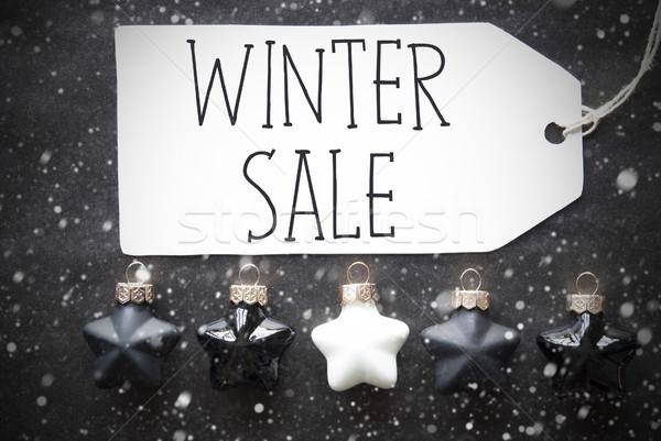 Black Christmas Balls, Snowflakes, Text Winter Sale Stock photo © Nelosa