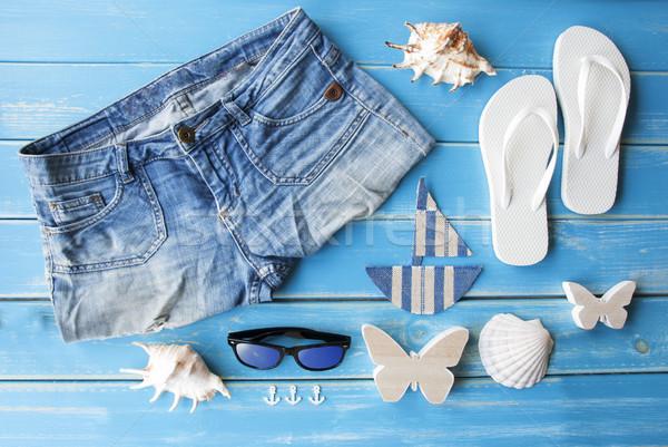 Nyár ruházat dekoráció fából készült kék ahogy Stock fotó © Nelosa