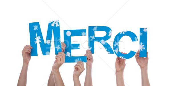Handen Blauw veel frans woorden Stockfoto © Nelosa
