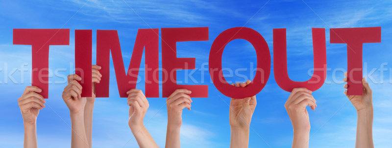 Hands Holding Red Straight Word Timeout Blue Sky Stock photo © Nelosa
