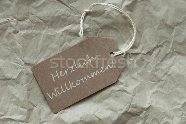 Beige Label Herzlich Willkommen Means Welcome Stock photo © Nelosa