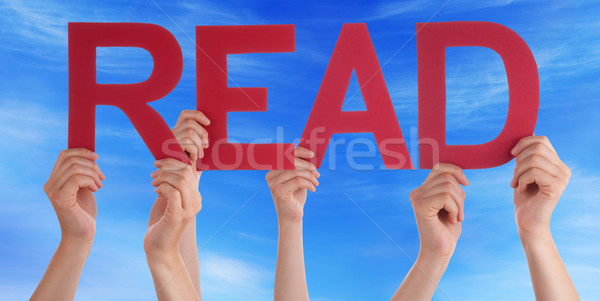 Many People Hands Holding Red Straight Word Read Blue Sky Stock photo © Nelosa
