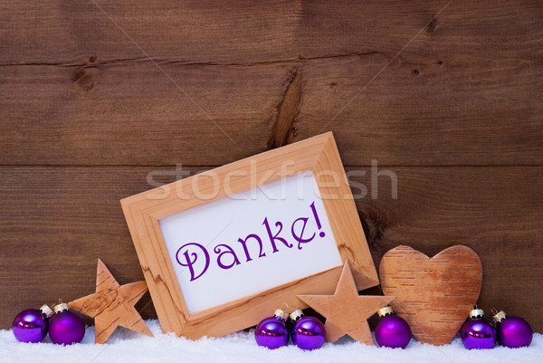 Purple Christmas Decoration Text Danke Mean Thank You Stock photo © Nelosa