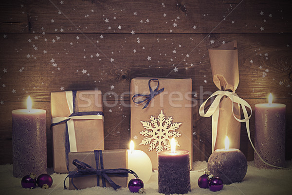 Vintage And Shabby Chic Purple Christmas Gift With Candle, Stars Stock photo © Nelosa