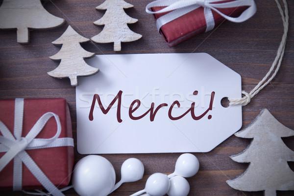 Christmas Label Gift Tree Merci Means Thank You Stock photo © Nelosa
