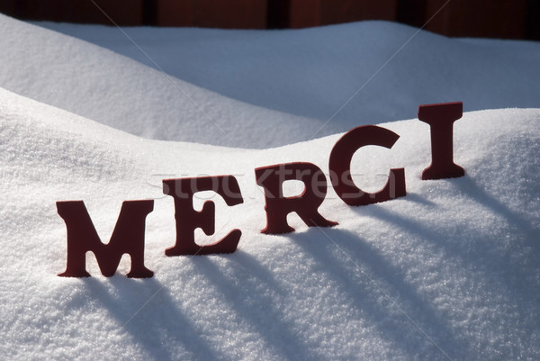 Christmas Card With Snow, Merci Mean Thank You Stock photo © Nelosa