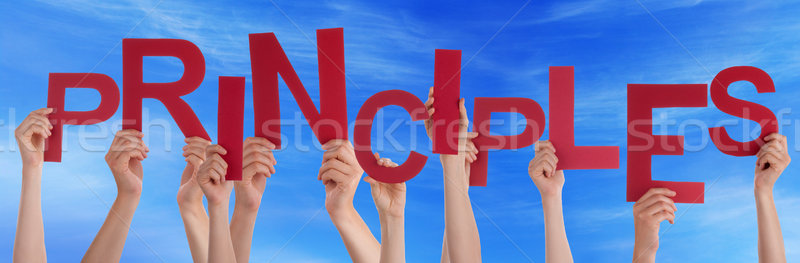 Many People Hands Holding Red Word Principles Blue Sky Stock photo © Nelosa