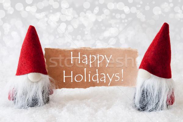 Rojo tarjeta texto feliz vacaciones Navidad Foto stock © Nelosa