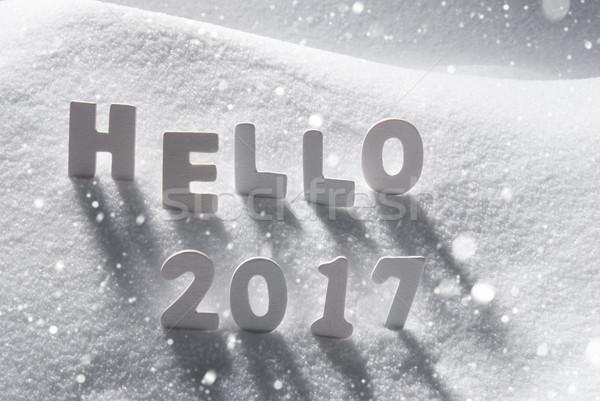 ストックフォト: 文字 · ハロー · 白 · 文字 · 雪 · 雪