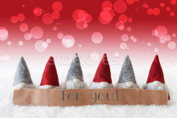 Gnomes, Red Background, Bokeh, Text For You Stock photo © Nelosa