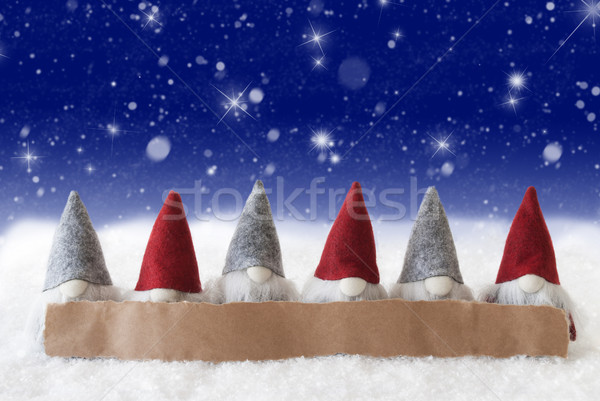 Gnomes, Blue Background, Stars, Snowflakes, Copy Space Stock photo © Nelosa