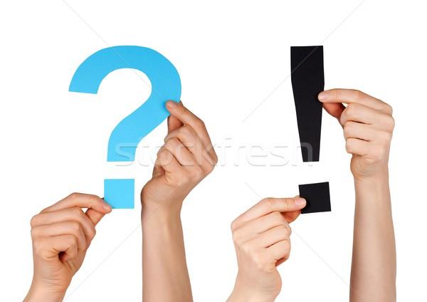 Kérdőjel osztályzat kék fekete izolált kezek Stock fotó © Nelosa
