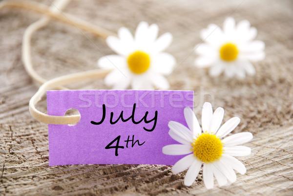 Purple Label with July 4th Stock photo © Nelosa