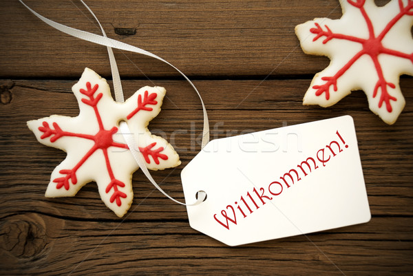 Christmas Star Cookies with Willkommen Label Stock photo © Nelosa