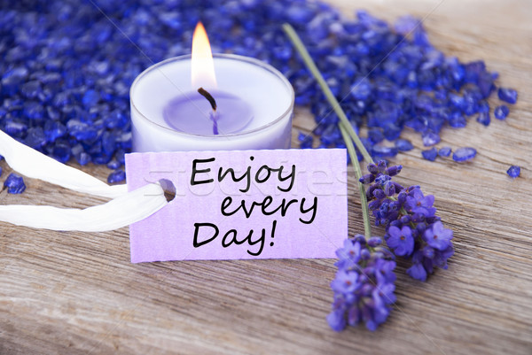 Purple Label With Life Quote Enjoy Every Day And Lavender Blossoms Stock photo © Nelosa